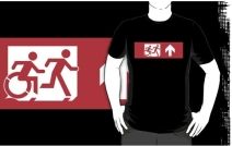 Accessible Means of Egress Icon Exit Sign Wheelchair Wheelie Running Man Symbol by Lee Wilson PWD Disability Emergency Evacuation Adult T-shirt 1