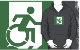Accessible Means of Egress Icon Exit Sign Wheelchair Wheelie Running Man Symbol by Lee Wilson PWD Disability Emergency Evacuation Adult T-shirt 165
