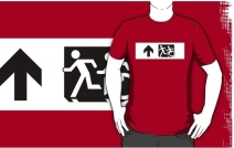 Accessible Means of Egress Icon Exit Sign Wheelchair Wheelie Running Man Symbol by Lee Wilson PWD Disability Emergency Evacuation Adult T-shirt 16