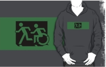 Accessible Means of Egress Icon Exit Sign Wheelchair Wheelie Running Man Symbol by Lee Wilson PWD Disability Emergency Evacuation Adult T-shirt 166