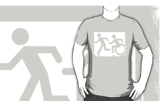 Accessible Means of Egress Icon Exit Sign Wheelchair Wheelie Running Man Symbol by Lee Wilson PWD Disability Emergency Evacuation Adult T-shirt 167