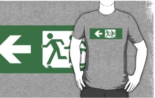 Accessible Means of Egress Icon Exit Sign Wheelchair Wheelie Running Man Symbol by Lee Wilson PWD Disability Emergency Evacuation Adult T-shirt 168