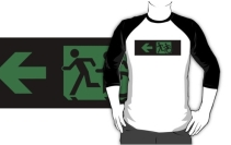 Accessible Means of Egress Icon Exit Sign Wheelchair Wheelie Running Man Symbol by Lee Wilson PWD Disability Emergency Evacuation Adult T-shirt 169