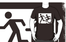 Accessible Means of Egress Icon Exit Sign Wheelchair Wheelie Running Man Symbol by Lee Wilson PWD Disability Emergency Evacuation Adult T-shirt 170
