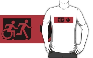 Accessible Means of Egress Icon Exit Sign Wheelchair Wheelie Running Man Symbol by Lee Wilson PWD Disability Emergency Evacuation Adult T-shirt 17