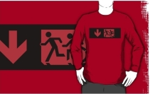 Accessible Means of Egress Icon Exit Sign Wheelchair Wheelie Running Man Symbol by Lee Wilson PWD Disability Emergency Evacuation Adult T-shirt 171