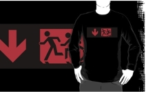 Accessible Means of Egress Icon Exit Sign Wheelchair Wheelie Running Man Symbol by Lee Wilson PWD Disability Emergency Evacuation Adult T-shirt 172