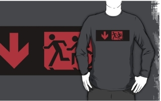 Accessible Means of Egress Icon Exit Sign Wheelchair Wheelie Running Man Symbol by Lee Wilson PWD Disability Emergency Evacuation Adult T-shirt 173