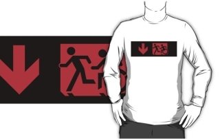Accessible Means of Egress Icon Exit Sign Wheelchair Wheelie Running Man Symbol by Lee Wilson PWD Disability Emergency Evacuation Adult T-shirt 174
