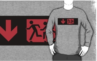 Accessible Means of Egress Icon Exit Sign Wheelchair Wheelie Running Man Symbol by Lee Wilson PWD Disability Emergency Evacuation Adult T-shirt 175