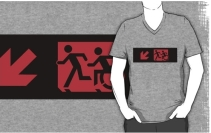Accessible Means of Egress Icon Exit Sign Wheelchair Wheelie Running Man Symbol by Lee Wilson PWD Disability Emergency Evacuation Adult T-shirt 176