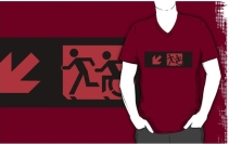 Accessible Means of Egress Icon Exit Sign Wheelchair Wheelie Running Man Symbol by Lee Wilson PWD Disability Emergency Evacuation Adult T-shirt 177