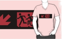Accessible Means of Egress Icon Exit Sign Wheelchair Wheelie Running Man Symbol by Lee Wilson PWD Disability Emergency Evacuation Adult T-shirt 178