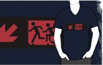 Accessible Means of Egress Icon Exit Sign Wheelchair Wheelie Running Man Symbol by Lee Wilson PWD Disability Emergency Evacuation Adult T-shirt 179