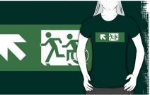 Accessible Means of Egress Icon Exit Sign Wheelchair Wheelie Running Man Symbol by Lee Wilson PWD Disability Emergency Evacuation Adult T-shirt 180