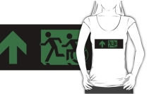 Accessible Means of Egress Icon Exit Sign Wheelchair Wheelie Running Man Symbol by Lee Wilson PWD Disability Emergency Evacuation Adult T-shirt 181