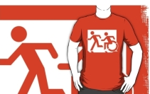 Accessible Means of Egress Icon Exit Sign Wheelchair Wheelie Running Man Symbol by Lee Wilson PWD Disability Emergency Evacuation Adult T-shirt 182