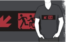 Accessible Means of Egress Icon Exit Sign Wheelchair Wheelie Running Man Symbol by Lee Wilson PWD Disability Emergency Evacuation Adult T-shirt 183