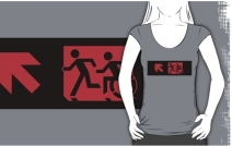Accessible Means of Egress Icon Exit Sign Wheelchair Wheelie Running Man Symbol by Lee Wilson PWD Disability Emergency Evacuation Adult T-shirt 184