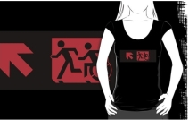 Accessible Means of Egress Icon Exit Sign Wheelchair Wheelie Running Man Symbol by Lee Wilson PWD Disability Emergency Evacuation Adult T-shirt 185