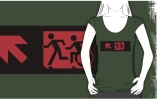 Accessible Means of Egress Icon Exit Sign Wheelchair Wheelie Running Man Symbol by Lee Wilson PWD Disability Emergency Evacuation Adult T-shirt 186