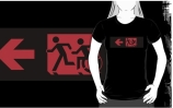 Accessible Means of Egress Icon Exit Sign Wheelchair Wheelie Running Man Symbol by Lee Wilson PWD Disability Emergency Evacuation Adult T-shirt 187