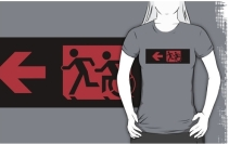 Accessible Means of Egress Icon Exit Sign Wheelchair Wheelie Running Man Symbol by Lee Wilson PWD Disability Emergency Evacuation Adult T-shirt 189