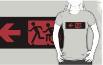 Accessible Means of Egress Icon Exit Sign Wheelchair Wheelie Running Man Symbol by Lee Wilson PWD Disability Emergency Evacuation Adult T-shirt 190