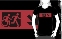 Accessible Means of Egress Icon Exit Sign Wheelchair Wheelie Running Man Symbol by Lee Wilson PWD Disability Emergency Evacuation Adult T-shirt 19