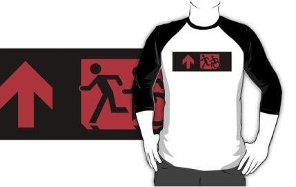 Accessible Means of Egress Icon Exit Sign Wheelchair Wheelie Running Man Symbol by Lee Wilson PWD Disability Emergency Evacuation Adult T-shirt 191