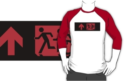 Accessible Means of Egress Icon Exit Sign Wheelchair Wheelie Running Man Symbol by Lee Wilson PWD Disability Emergency Evacuation Adult T-shirt 192