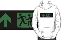 Accessible Means of Egress Icon Exit Sign Wheelchair Wheelie Running Man Symbol by Lee Wilson PWD Disability Emergency Evacuation Adult T-shirt 193