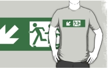 Accessible Means of Egress Icon Exit Sign Wheelchair Wheelie Running Man Symbol by Lee Wilson PWD Disability Emergency Evacuation Adult T-shirt 194