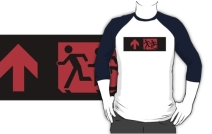 Accessible Means of Egress Icon Exit Sign Wheelchair Wheelie Running Man Symbol by Lee Wilson PWD Disability Emergency Evacuation Adult T-shirt 195