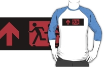 Accessible Means of Egress Icon Exit Sign Wheelchair Wheelie Running Man Symbol by Lee Wilson PWD Disability Emergency Evacuation Adult T-shirt 196