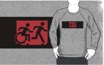 Accessible Means of Egress Icon Exit Sign Wheelchair Wheelie Running Man Symbol by Lee Wilson PWD Disability Emergency Evacuation Adult T-shirt 197
