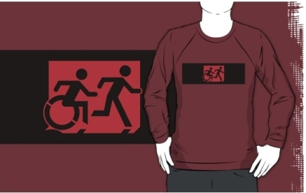 Accessible Means of Egress Icon Exit Sign Wheelchair Wheelie Running Man Symbol by Lee Wilson PWD Disability Emergency Evacuation Adult T-shirt 198