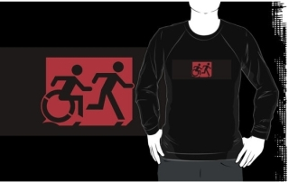 Accessible Means of Egress Icon Exit Sign Wheelchair Wheelie Running Man Symbol by Lee Wilson PWD Disability Emergency Evacuation Adult T-shirt 199