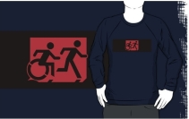 Accessible Means of Egress Icon Exit Sign Wheelchair Wheelie Running Man Symbol by Lee Wilson PWD Disability Emergency Evacuation Adult T-shirt 200