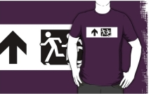 Accessible Means of Egress Icon Exit Sign Wheelchair Wheelie Running Man Symbol by Lee Wilson PWD Disability Emergency Evacuation Adult T-shirt 20