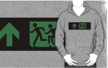 Accessible Means of Egress Icon Exit Sign Wheelchair Wheelie Running Man Symbol by Lee Wilson PWD Disability Emergency Evacuation Adult T-shirt 205