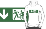 Accessible Means of Egress Icon Exit Sign Wheelchair Wheelie Running Man Symbol by Lee Wilson PWD Disability Emergency Evacuation Adult T-shirt 206