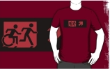 Accessible Means of Egress Icon Exit Sign Wheelchair Wheelie Running Man Symbol by Lee Wilson PWD Disability Emergency Evacuation Adult T-shirt 209