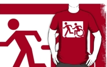 Accessible Means of Egress Icon Exit Sign Wheelchair Wheelie Running Man Symbol by Lee Wilson PWD Disability Emergency Evacuation Adult T-shirt 2