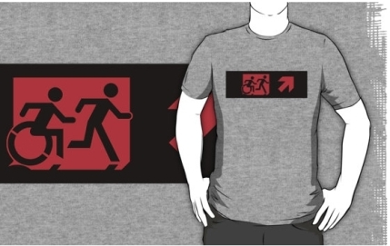 Accessible Means of Egress Icon Exit Sign Wheelchair Wheelie Running Man Symbol by Lee Wilson PWD Disability Emergency Evacuation Adult T-shirt 210