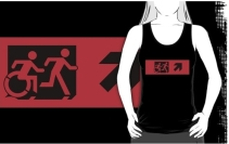 Accessible Means of Egress Icon Exit Sign Wheelchair Wheelie Running Man Symbol by Lee Wilson PWD Disability Emergency Evacuation Adult T-shirt 21