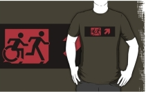 Accessible Means of Egress Icon Exit Sign Wheelchair Wheelie Running Man Symbol by Lee Wilson PWD Disability Emergency Evacuation Adult T-shirt 211