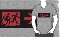 Accessible Means of Egress Icon Exit Sign Wheelchair Wheelie Running Man Symbol by Lee Wilson PWD Disability Emergency Evacuation Adult T-shirt 213