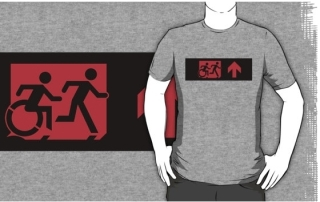 Accessible Means of Egress Icon Exit Sign Wheelchair Wheelie Running Man Symbol by Lee Wilson PWD Disability Emergency Evacuation Adult T-shirt 214