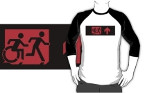 Accessible Means of Egress Icon Exit Sign Wheelchair Wheelie Running Man Symbol by Lee Wilson PWD Disability Emergency Evacuation Adult T-shirt 215